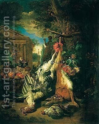 A Still Life Of Game With A Hung Hare And A Basket Of Fruit, In An Ornamental Garden by (after) Jan Weenix - Reproduction Oil Painting