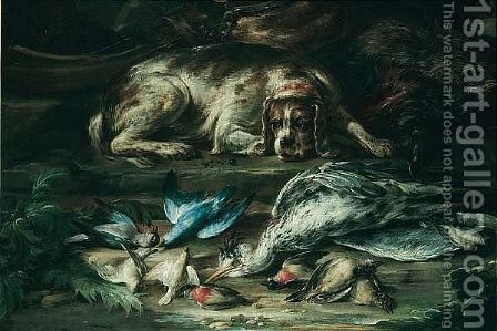 A Still Life With A Hound Guarding Over A Wild Boar, A Heron And Songbirds, Together With A Musket And Shot Nearby by (after) Baldassare De Caro - Reproduction Oil Painting