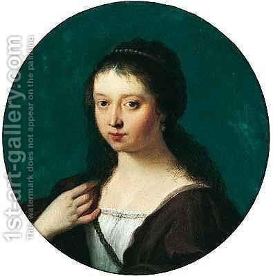 Portrait Of A Young Woman, Head And Shoulders, Possibly Susanna Van Collen by Cornelis Van Poelenburch - Reproduction Oil Painting