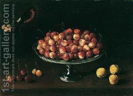 A Still Life Of Cherries On A Silver Tazza Together With Apricots And A Bullfinch by (after) Panfilo Nuvolone - Reproduction Oil Painting