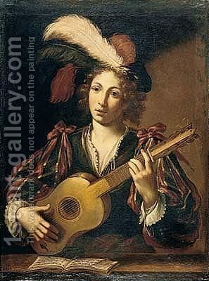 A figure of a youth playing the guitar by (after) Claude Vignon - Reproduction Oil Painting