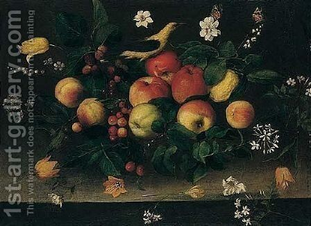 A still life of apples, lemons, raspberries, blackberries and cherries, with tulips by Spanish School - Reproduction Oil Painting