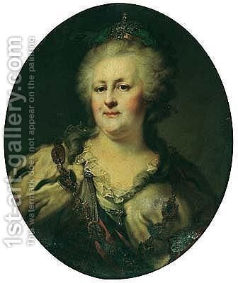Portrait Of The Empress Catherine The Great Of Russia by Giovanni Battista Lampi I - Reproduction Oil Painting
