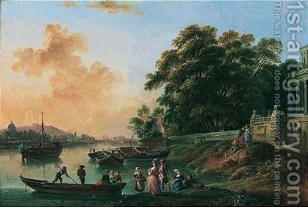 A View, Possibly On The River Seine With The Cathedral Of Notre-dame Beyond, With Elegant Figures At Leisure And A Palace Nearby by Jean-Baptiste Lallemand - Reproduction Oil Painting