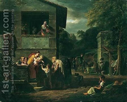 A Blind Beggar Accompanied By A Small Boy Outside A House, Washerwomen And Other Figures Watching Beyond by Jean Baptiste Antoine Emile Beranger - Reproduction Oil Painting