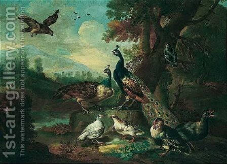 An autumnal landscape with a falcon, two peacocks, and other poultry by (after) Angelo Maria Crivelli, Il Crivellone - Reproduction Oil Painting
