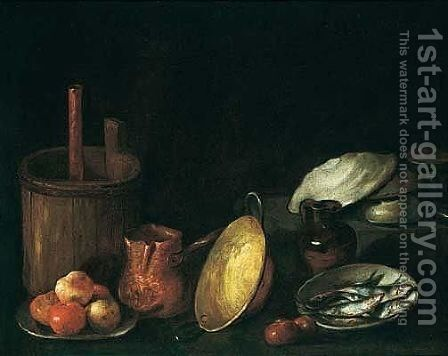 A still life of apples on a plate, sardines in a bowl, and other kitchen utensils by Spanish School - Reproduction Oil Painting