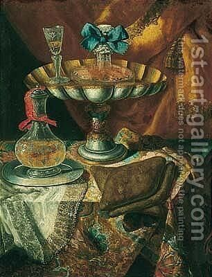 Still life of a wine glass and bottle in a parcel gilt tazza together with a glass decanter on a pewter dish upon a draped tabletop by Maximilian Pfeiler - Reproduction Oil Painting