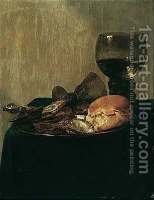 Still Life Of Bread And Oysters On A Pewter Dish With A Roemer And An Overturned Wineglass Upon A Draped Table-top by (after) Abraham Susenier - Reproduction Oil Painting