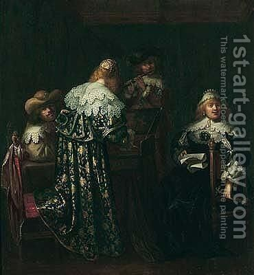 An elegant party playing music by (after) Anthonie Palamedes, Called Stevers - Reproduction Oil Painting