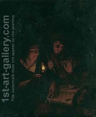 A Man And A Woman Studying A Book By Candle-light by (after) Arnold Boonen - Reproduction Oil Painting