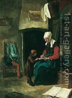 A domestic interior wtih an old maid teaching a young boy to read by (after) Esaias Boursse - Reproduction Oil Painting
