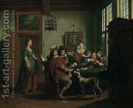 An Interior With Elegant Figures Playing Cards by Jan Jozef, the Younger Horemans - Reproduction Oil Painting
