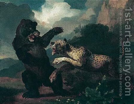 A Mountainous Landscape With A Leopard Attacking A Bear by Abraham Danielsz Hondius - Reproduction Oil Painting