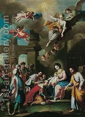 The adoration of the magi by (after) Christian Wilhelm Dietrich, Called Dietricy - Reproduction Oil Painting