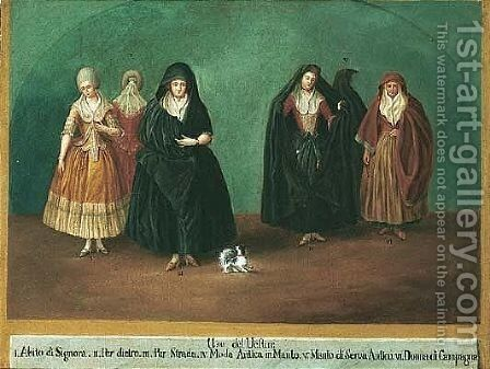 Women dressed in various costumes by (after) Longhi, Pietro - Reproduction Oil Painting