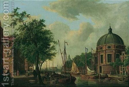 Amsterdam, A View Of The New Round Lutheran Church On The Singel, From The Canal by Cornelis De Kruijff - Reproduction Oil Painting