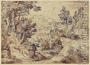 Landscape With Mary Magdalene by Annibale Carracci - Reproduction Oil Painting