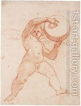 Study Of A Putto Playing A Tambourine by Cristoforo Pomarancio (Roncalli) - Reproduction Oil Painting
