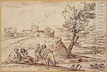 The Rest On The Flight Into Egypt by Giovanni Francesco Grimaldi - Reproduction Oil Painting