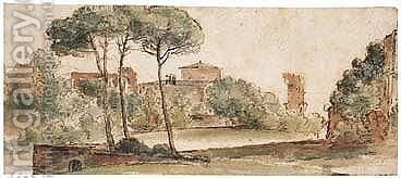 A View Of San Stefano Rotondo, Rome by (after) Caspar Andriaans Van Wittel - Reproduction Oil Painting