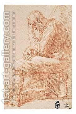 Profile Study Of A Seated Old Man, Resting His Forehead On His Left Hand by Jan Van Den Bergh - Reproduction Oil Painting
