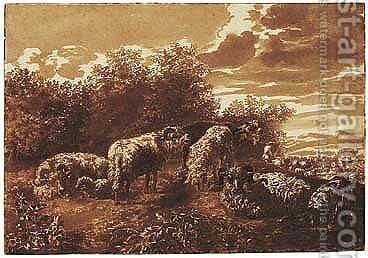 Sheep At Rest In A Landscape by Jan de Bisschop - Reproduction Oil Painting