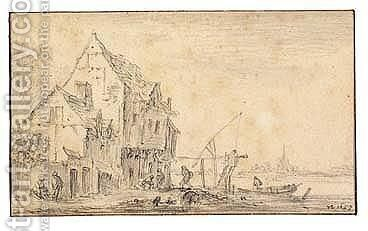 Houses And Figures By A River by Jan van Goyen - Reproduction Oil Painting