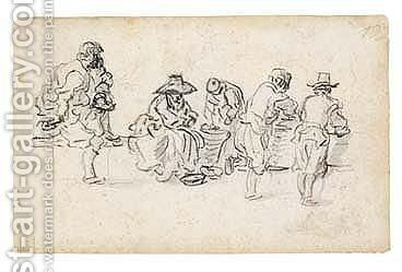 A Sketchbook Page Study Of Five Figures, Seemingly In A Market by Jan van Goyen - Reproduction Oil Painting