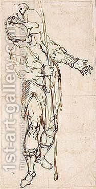A Costume Design A Soldier With A Monkey by Alessandro Maganza - Reproduction Oil Painting