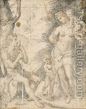 Adam And Eve With Their Sons by (Jacopo Chimenti) Empoli - Reproduction Oil Painting