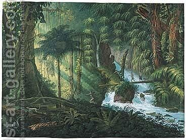 View Of A Jungle, With Hunters Crossing A River, One About To Shoot An Arrow. by (after) Charles Comte De Clarac - Reproduction Oil Painting