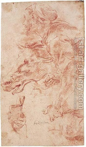 Study Of A Man Holding A Horse, And A Separate Study Of A Hand Holding A Book by Angelo Trevisani - Reproduction Oil Painting