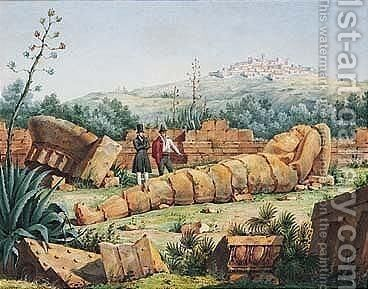 View Of The Ruins Of The Temple Of Jupiter At Agrigento by Antoine Laurent Thomas Vaudoyer - Reproduction Oil Painting