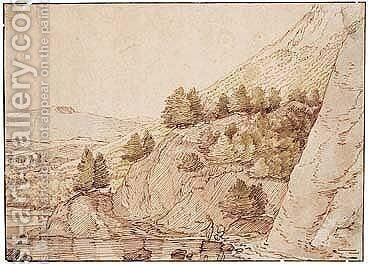 Rugged River Landscape With Figures Fishing by (after) Jacob Esselens - Reproduction Oil Painting