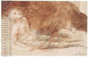 Study Of A Male Nude Resting Against Rocks by Alphonse Legros - Reproduction Oil Painting