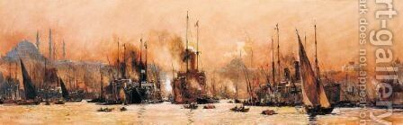 Harbour Of Constantinople, The Golden Horn by Charles Edward Dixon - Reproduction Oil Painting