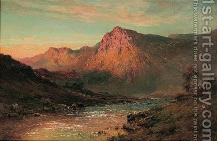 Sunset In The Highlands by Alfred de Breanski - Reproduction Oil Painting
