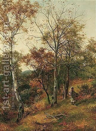 Autumn In The Wood, Benarth Near Conway by David Bates - Reproduction Oil Painting