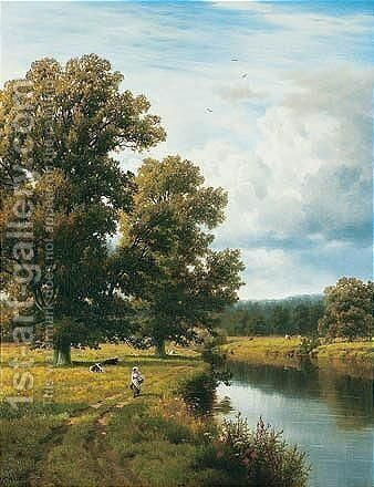Strensham Lock In Worcestershire by Henry Cheadle - Reproduction Oil Painting
