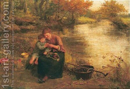 A Rest While Gathering Blackberries by James Clarke Hook - Reproduction Oil Painting