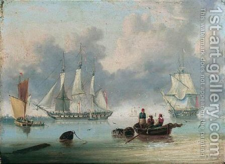 A Frigate And A Ship Of The Line Off The Coast by Charles T. Harding - Reproduction Oil Painting