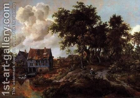 A Watermill Beside A Woody Lane by Meindert Hobbema - Reproduction Oil Painting