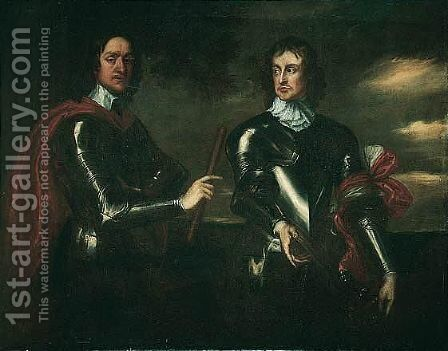Portrait Of Oliver Cromwell (1599-1658) And General John Lambert (1619-1684) by (after) Robert Walker - Reproduction Oil Painting