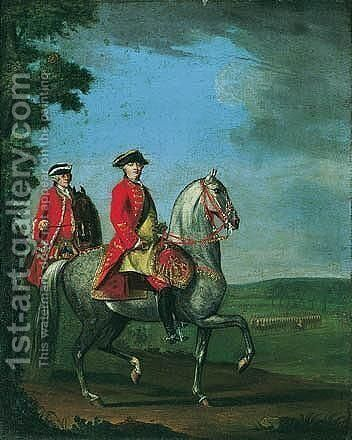 Equestrian Portrait Of George III With A Review Of Troops Beyond by David Morier - Reproduction Oil Painting