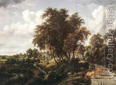 Road on a Dyke 1663 by Meindert Hobbema - Reproduction Oil Painting