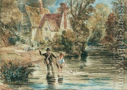 A Man And Child Fishing In A Stream By A Cottage by David Cox - Reproduction Oil Painting