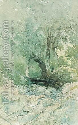 A Woodland Stream by David Cox - Reproduction Oil Painting