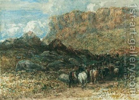 Herdsman In A Mountain Pass, North Wales by David Cox - Reproduction Oil Painting
