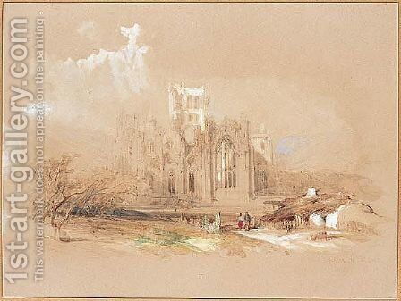 Melrose Abbey, Scotland by David Roberts - Reproduction Oil Painting